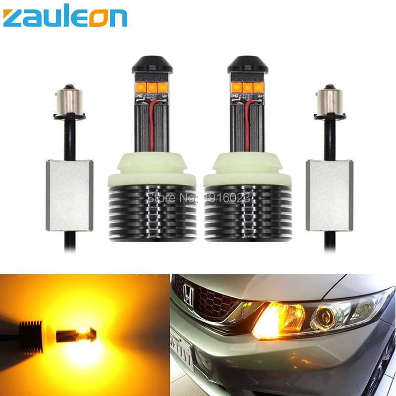 Zauleon 2pcs No error 1156 BA15S 1056 BAU15S PY21W P21W High Power 30W Yellow LED Flicker