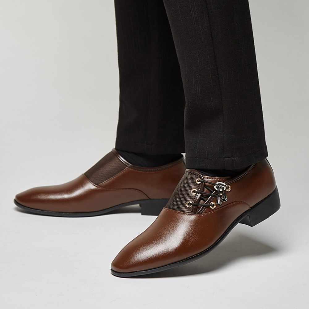 Frühling Herbst Männer Formale Hochzeit Schuhe Luxus Männer Business Kleid Schuhe Männer Müßiggänger Spitze Schuhe Große Größe 38-47 dec4