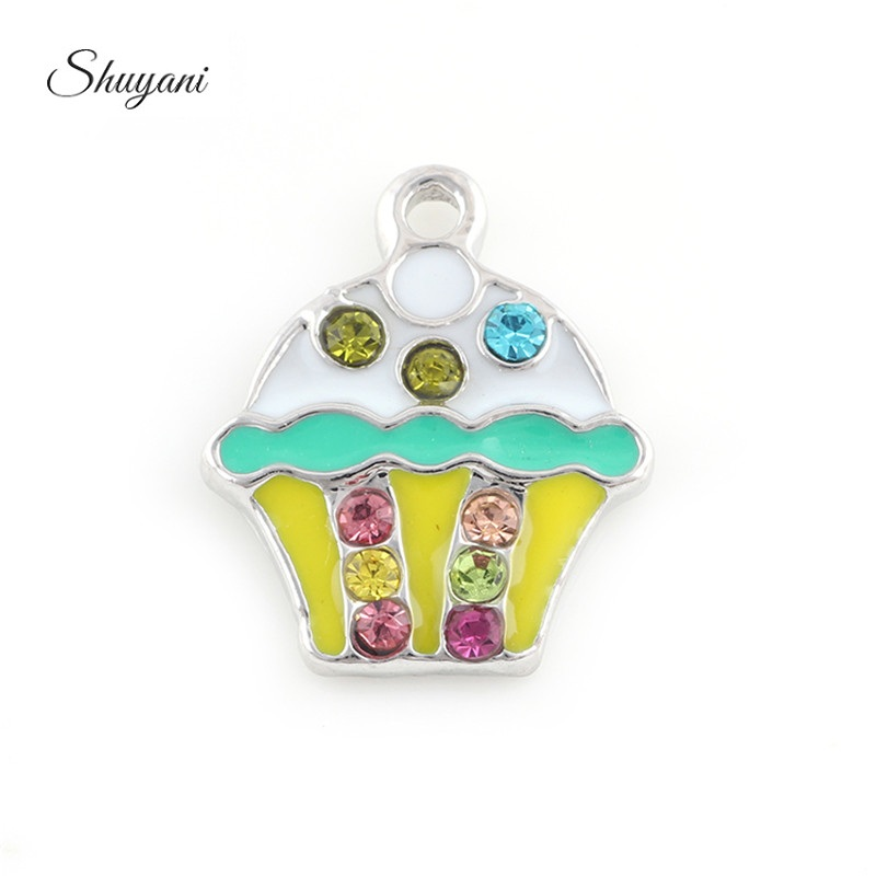 20Pcs Multicolor Crystal Cake Shape Pendant For Handmade Bracelet Jewelry Accessories Christmas Gifts
