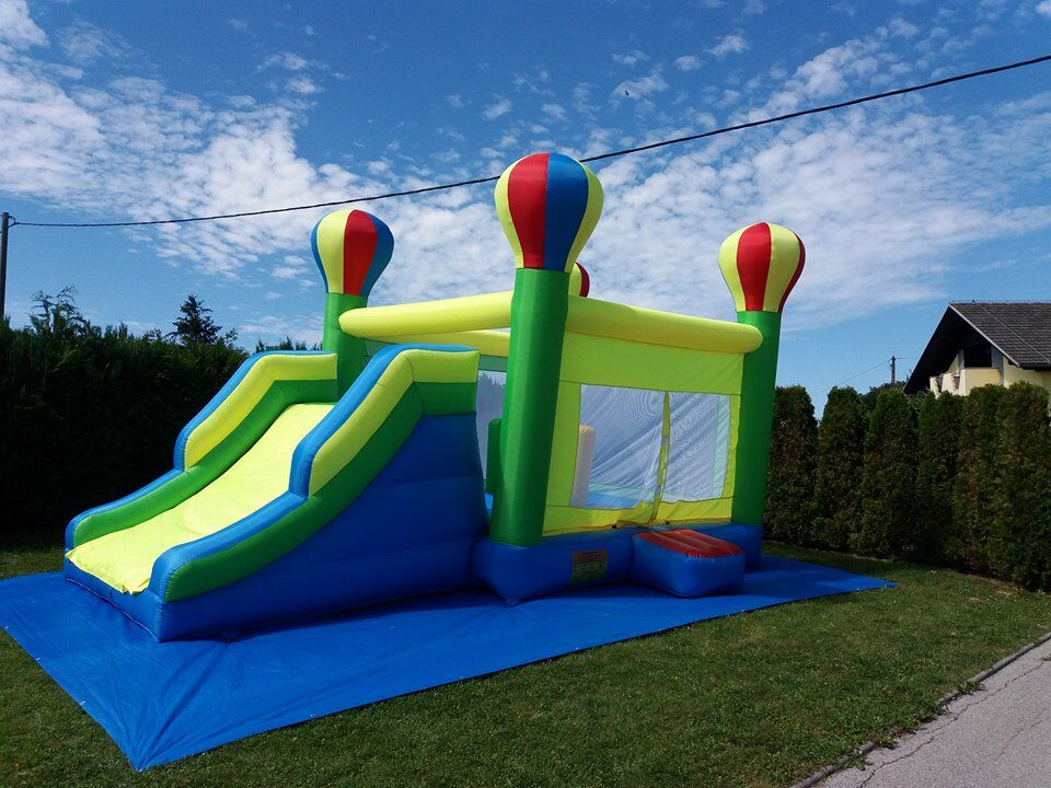 Inflatable Slide For Sale Large Bouncy Castle Ifnlatable Pool Trampoline Toys Birthday Gift For Kids Bounce House Cama Elastic tropical inflatable bounce house pvc tarpaulin material bouncy castle with slide and ball pool inflatbale bouncy castle