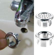 Home Bathroom Washbasin Overflow Cover Sink Round Ring Overflow Hole Cover Tidy Chrome Trim Ceramic Basin Overflow Ring(China)