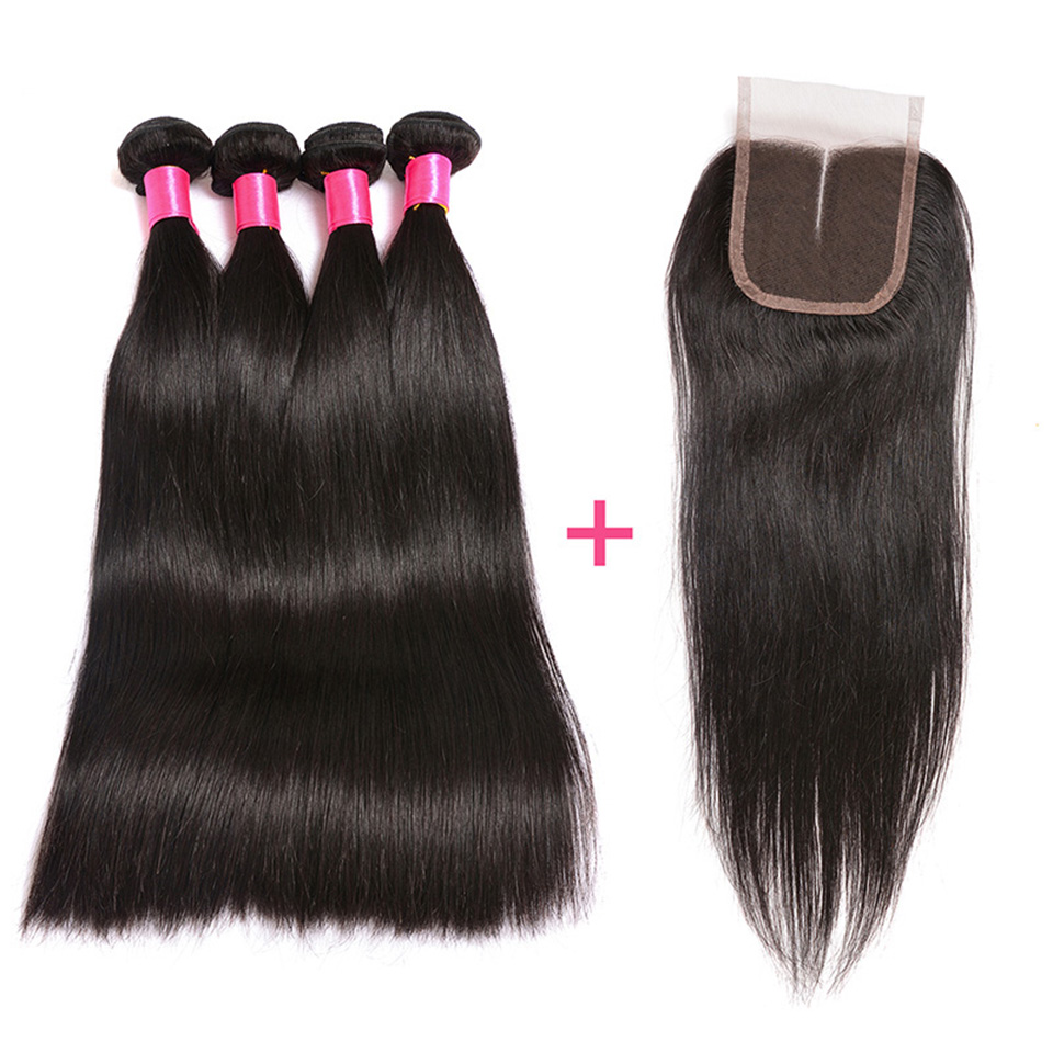 Straight Hair Bundles With Closure Remy Brazilian Hair Weave 4 Bundles Human Hair Bundles With Closure Middle Part 5 PCS BOL