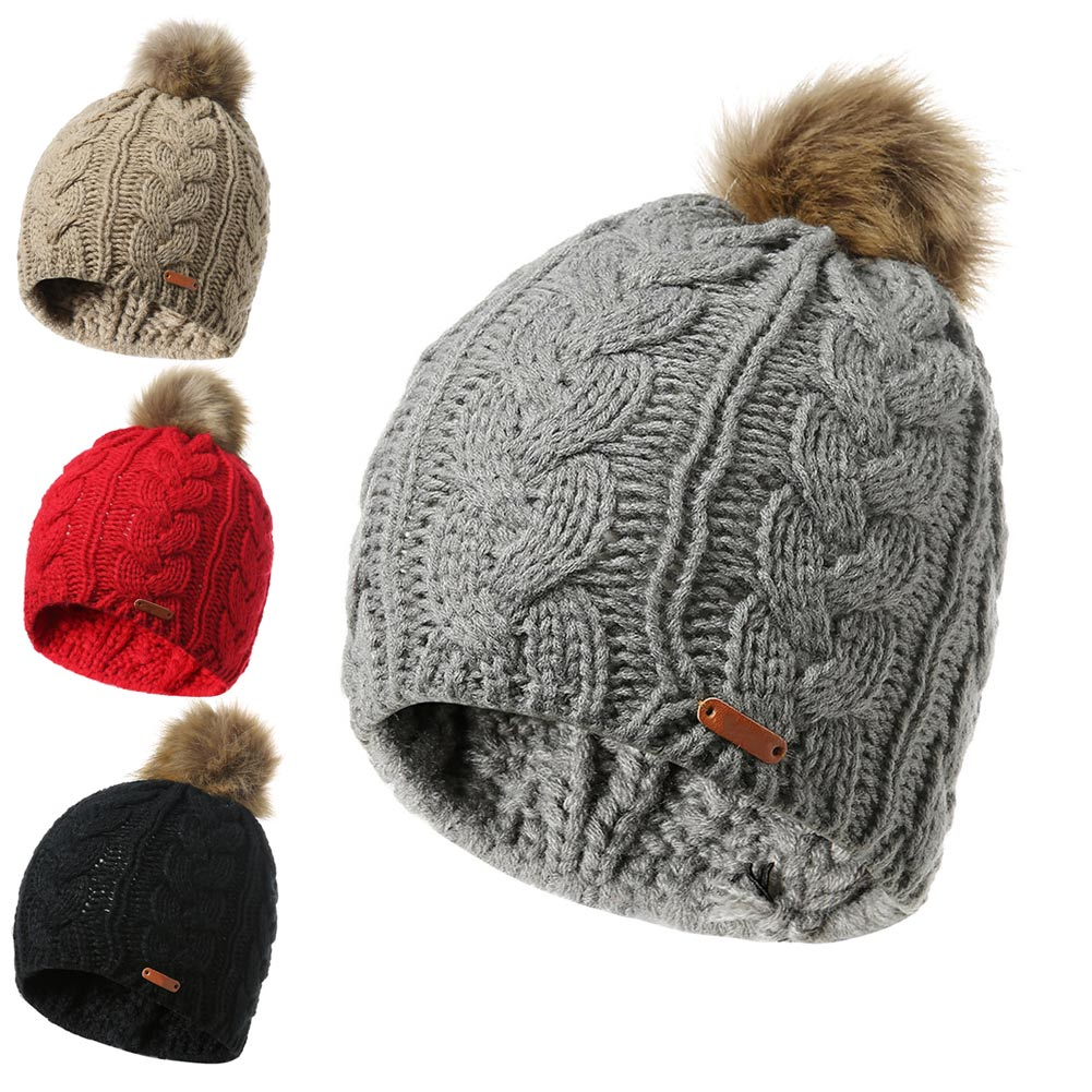Autumn Winter Women Knitted Hat With Faux Fur Pompon Beanie Warm Outdoor Casual Cap FS99