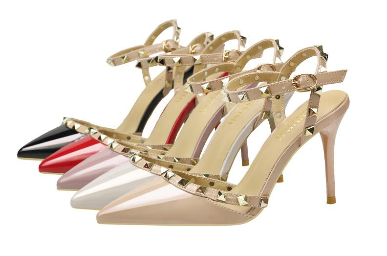 Dress-Shoes Studs High-Heels Pointed-Toe Designer Valentine Sandals Women with Patent