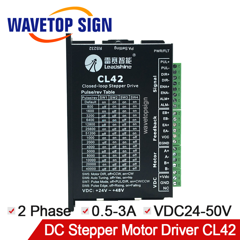 leadshine CL serial close loop stepper motor driver CL42 2 phase input voltage VDC24-50V current 0.5-3A match 42CME serial motor original leadshine 2 phase driver dm542 input voltage dc18 48v current 1 0 4 2a match with the motor 57 60 86