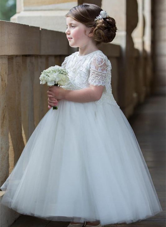 2018 Princess Flower Girl Dresses Jewel Neck 1/2 Sleeve Floor Length Girls Pageant Dresses With Lace Tulle Girls Tutu Dress floral girls princess dress for dancing costume short sleeve v neck floor length flower girl dresses family matching outfits