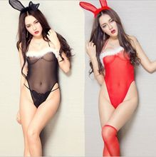 Black/Red Hot COSPLAY Coelho Menina transparente Broto de seda lingerie Sexy mulheres trajes Sexo brinquedo Sexy lingerie Role play