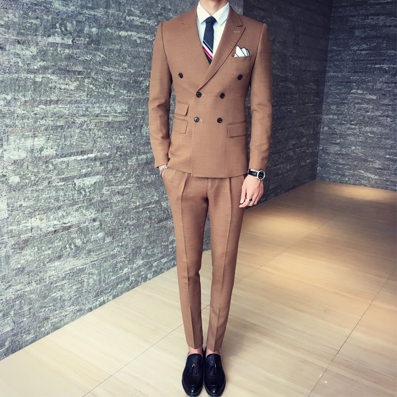 Italian Style Brown Double Breasted Groom Tuxedos Slim Fit Mens Wedding Party Suits Bridegroom (Jacket+Pants+Tie+Handkerchief)