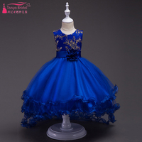 Kraliyet Mavi Classcial Çiçek Kız Düğün Için Elbise O-Boyun Sevimli Prenses Balo İlk Communion elbise Kız ZF001