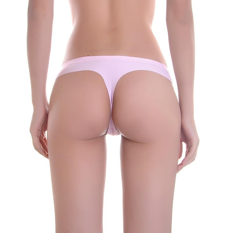 Women Seamless Thong Laser Cut Lace Waist Underwear Polka Dot G-string Cream S-M