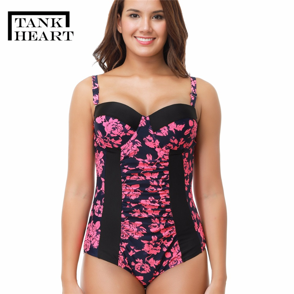Tank Heart Biquini Plus Size Swimwear One Piece Swimsuit Women Bikini Monokini Sexy Bodysuit saida de praia floral girls suit tank heart black sexy bandage bikini plus size swimwear women one piece swimsuit bathing suit beachwear bodysuit monokini praia