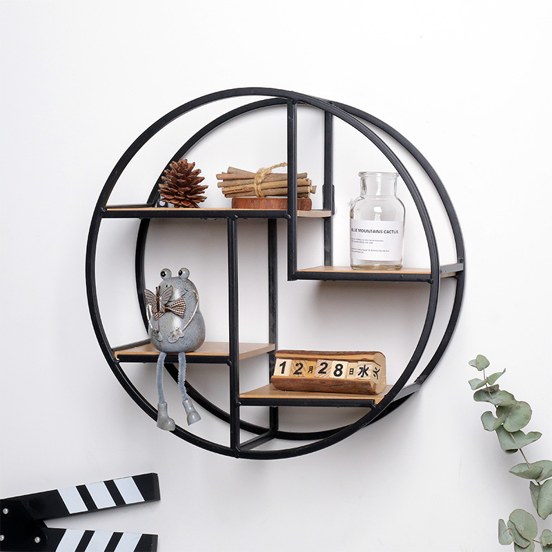 Wall Hanging Iron Round Shelf Housekeeper Storage Rack Sundries Holder Creative Chinese Storage Rack Space Organizer Home Decor display escalera vintage a la pared