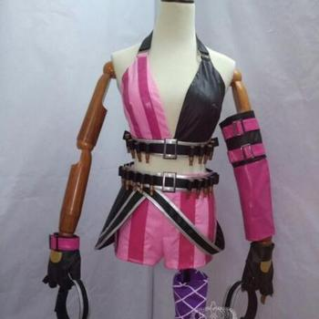 New Jinx Cosplay Lol Game Pink PU Full Set Costume With Sock Not including Bullets 3