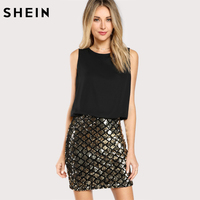 SHEIN Party Women Dresses Multicolor Sleeveless Zipper Back Contrast Sequin Sheath Dress Two Tone Sparkle Combo