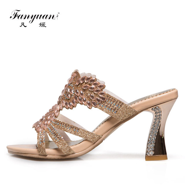 Fanyuan Plus Size 32-46 Classy Ladies High heels Synthetic Hoof Heels  Slides Bling Crystal Women s Party Wear Dress Slippers b0e1bc44dd40