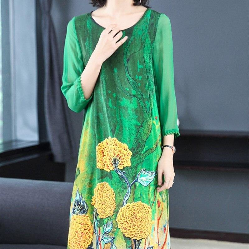 Dresses 2019 Celmia Women Vintage Floral Print Dress Long Sleeve O Neck Split Loose Casual Mid-calf Vestidos Kaftan S-4XL