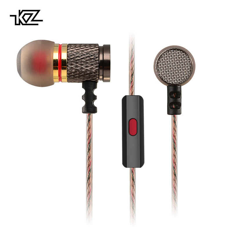 KZ EDR1 Promotional Gold Plated Housing In Ear Audio Monitors with Microphone 3.5mm HD HiFi Earphone Bass Stereo Earbuds