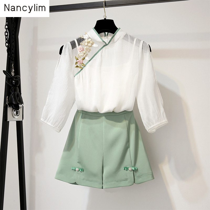 Summer 2019 New Women's Chinese Style Two-piece Suit Elegant Embroidery White Blouse + Loose Shorts Student Sets Nancylim