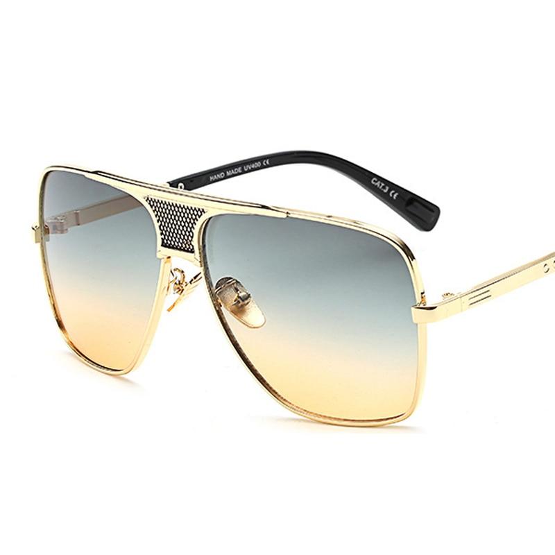Peekaboo Marca novo 2016 steampunk óculos de sol quadrados homens flat top  europeu americano retro óculos de sol do metal do ouro de luxo masculino em  ... 2040cd37eb