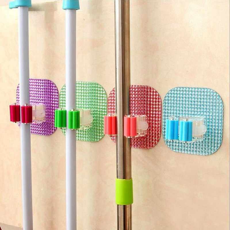 2pcs! Hot sales Crystal Mop Pole sticky hook broom holder nail clip kitchen wall tableware organizer storage shelf