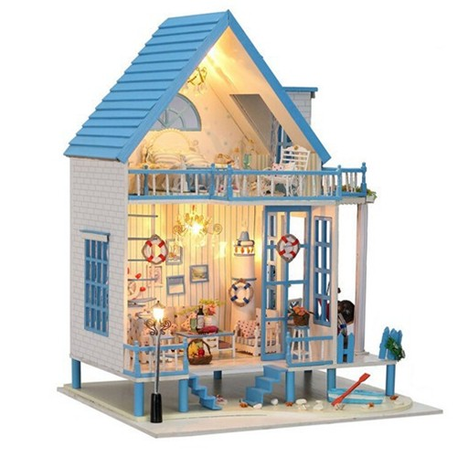 DIY Mediterranean X-mas Gift Wooden Style Dollhouse With LED Furniture Kit Doll