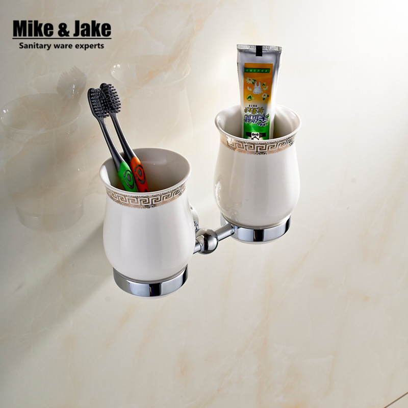 New Modern chrome double cup holder European style Golden copper toothbrush tumbler&cup holder wall mount bath product MC6723 image