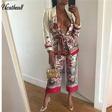 Ucatheall Women's Cross V-Neck Long Sleeve V Neck Kimono Jackets Printed Wide Leg