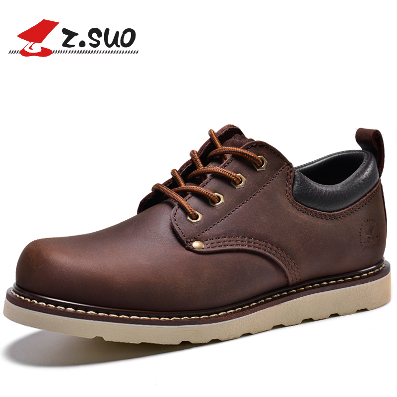 bb607e083213 Z.SUO GTY16006 The Best Quality Crazy Horse Leather Men s Work Shoes  British Low Top Lacing Urban Mens Casual Leather Shoes-in Men s Casual Shoes  from Shoes ...