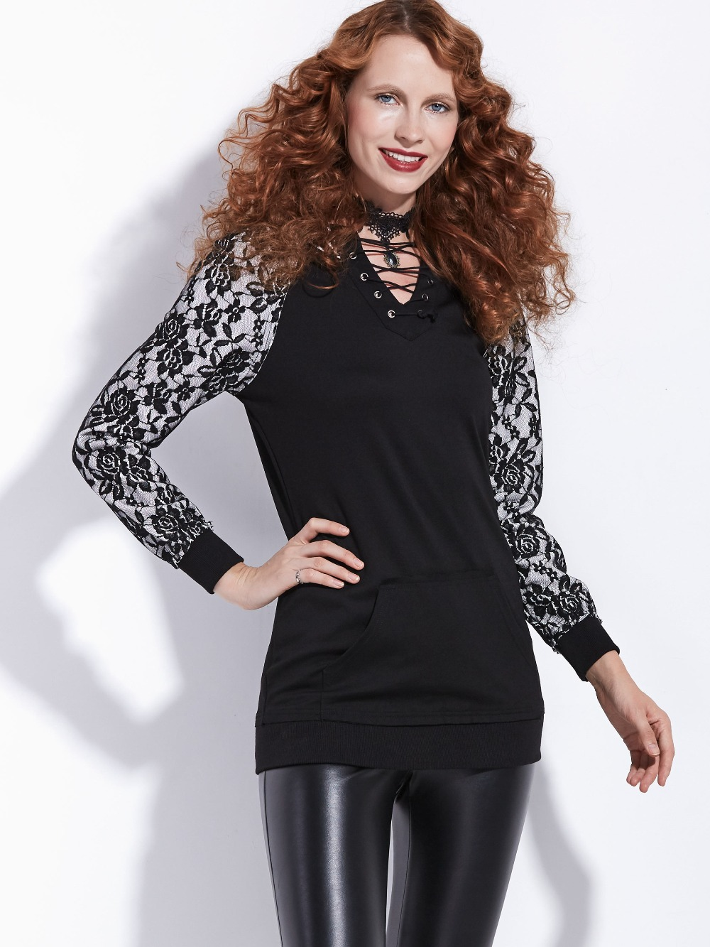 2018 Gothic Hoodies Black Women Vinage Blouse Casual Shirts Retro Tops Lace-Up elegant Gothics Hoodies spring autumn