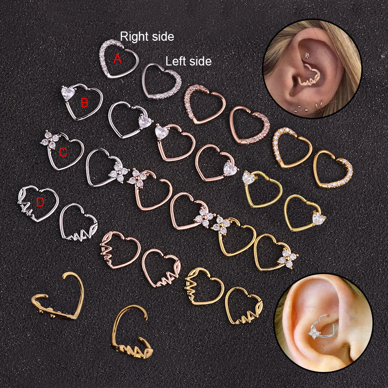 Feelgood Daith Piercing Jewelry Rook-Ring Heart-Hoop Cz Tragus Helix Copper-Heart Silver