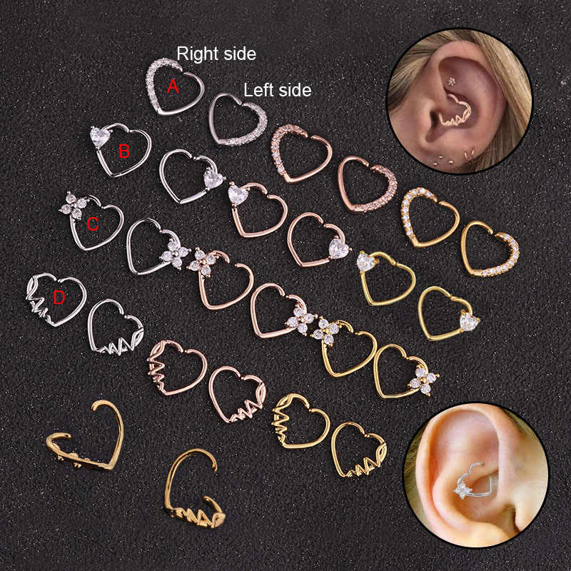 Feelgood 1 PC כסף וזהב צבע נחושת לב Daith פירסינג תכשיטי Cz לב חישוק Helix סחוס עגיל Tragus העורב טבעת