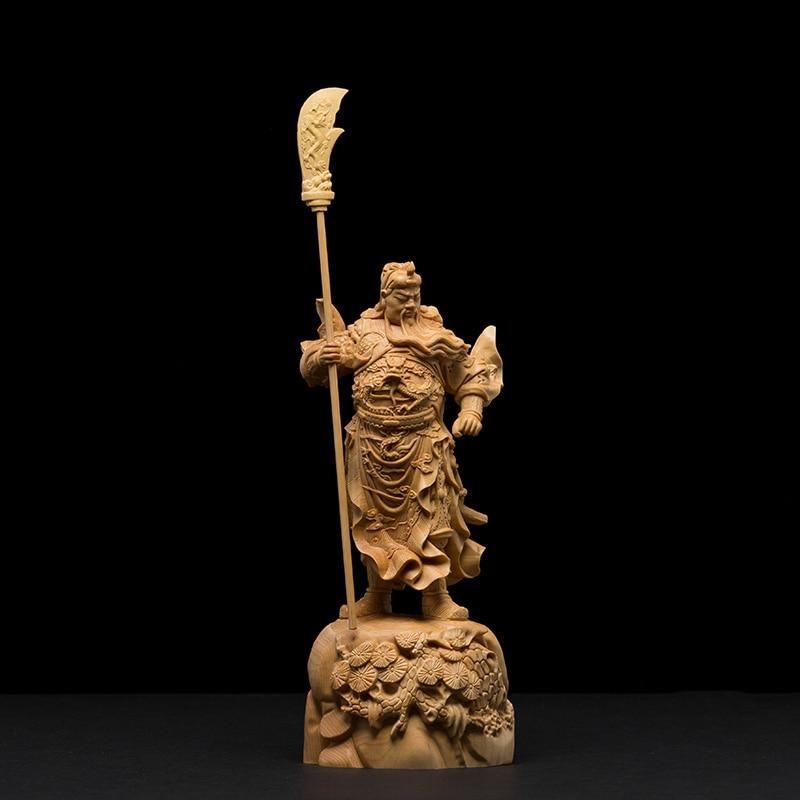 """2017 9/"""" China Silver Bronze Guan Gong Dragon Sword Door Guardian Statue"""