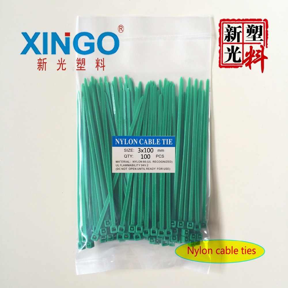 100 unids/bolsa 8 colores 2,5mm x 100mm 2,5mm x 100mm Cable de nylon de autobloqueo tirantes bridas blanco negro organizador Cable de sujeción