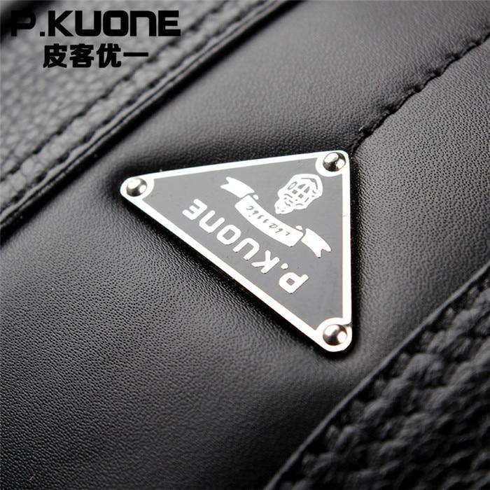 Bolsos de moda para hombre P. kuone vintage maletín de cuero genuino marrón bolsos de hombro de negocios maletín de alta calidad para ordenador portátil - 5