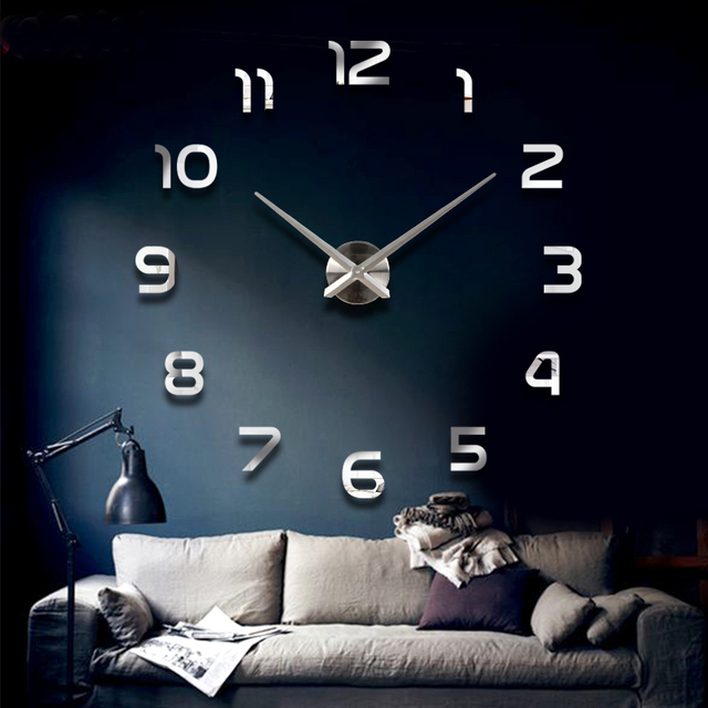 Home Decoration!Big Number Mirror Wall Clock Modern Design,Large