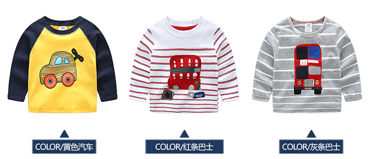 2018 Spring Autumn For 2-9 10 Years Children Cotton Striped Patchwork Cartoon Car Bus Truck Baby Kids Boys Long Sleeve T Shirts (6)