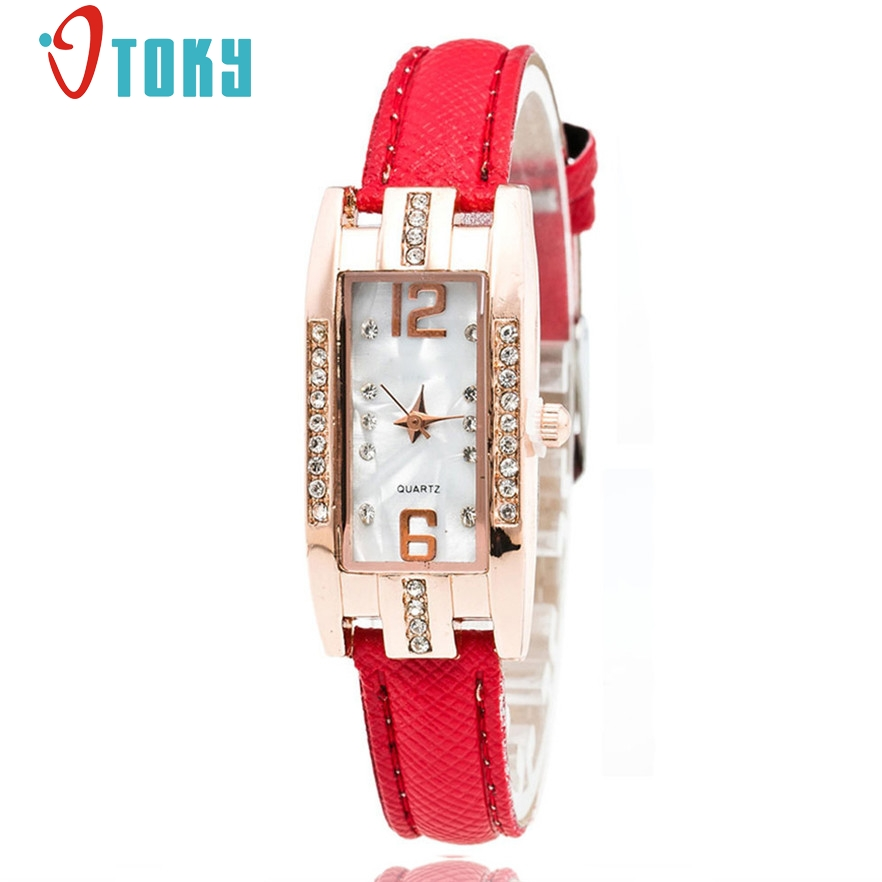 OTOKY reloj Quartz Women Watch Fashion Diamonds Dress Ladies Casual Crystal Thin Wristwatch Leather strap #10 Gift 1pc comtex ladies watch spring casual yellow leather women wristwatch for girl new fashion quartz calendar watches reloj clock gift
