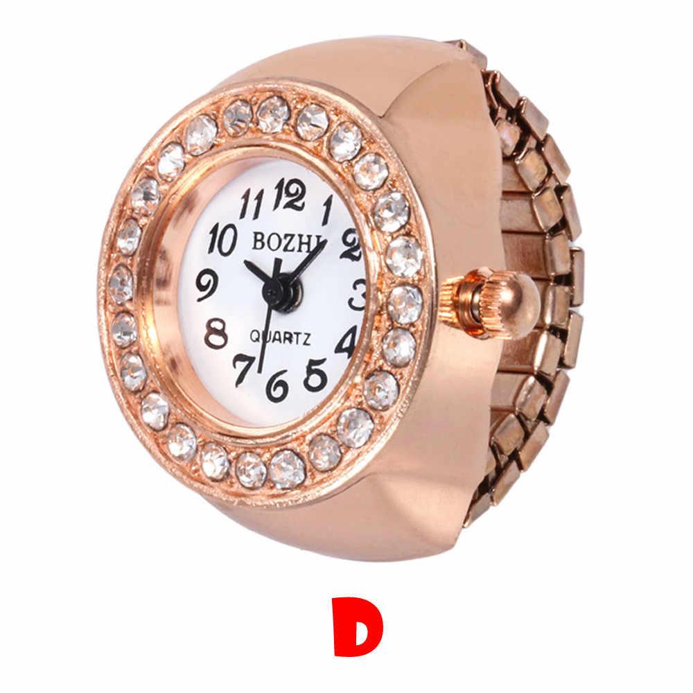 Moda Feminina Pequeno Dial Analog de Quartzo Relógio de Aço Criativo Fresco Elastic Quartz Watch Ring Finger Женские кольцевые часы Wd3