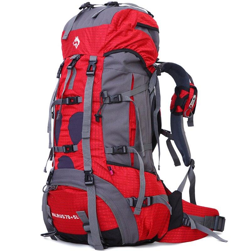 Jungle Roi extérieure heavy escalade sacs camping voyage sacs à dos en gros 70 + 5L professionnel imperméable en nylon Randonnée Sac À Dos