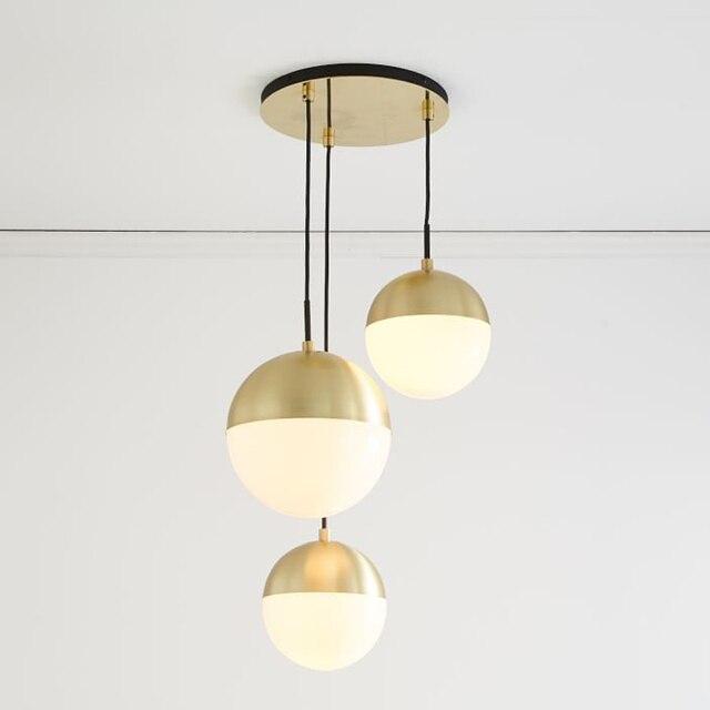 Modern Pendant Lights Black Glass Ball Pendant Lamp Long Line ...