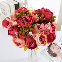 Italy Style Silk Flower Wedding Bouquet Peony Artificial Flowers Vivid Leaf Flower Bridal Bouquets Decoration Flores