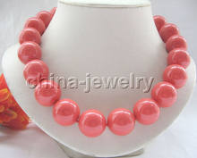 "Free shipping ~~Beautiful 18"" 20mm orange perfect round south sea shell pearl necklace(China)"