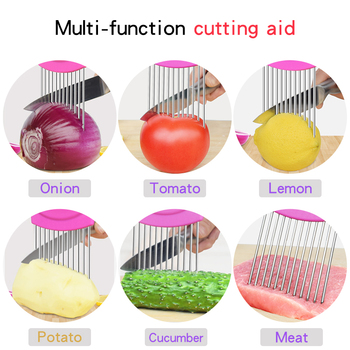 2019 New Kitchen Gadgets Onion Slicer Tomato Vegetables Safe Fork vegetables Slicing Cutting Tools