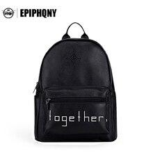 Epiphqny бренд черный рюкзак с буквами женские Рюкзаки печати Школьные сумки для подростков Прохладный Daypacks Повседневное 51182