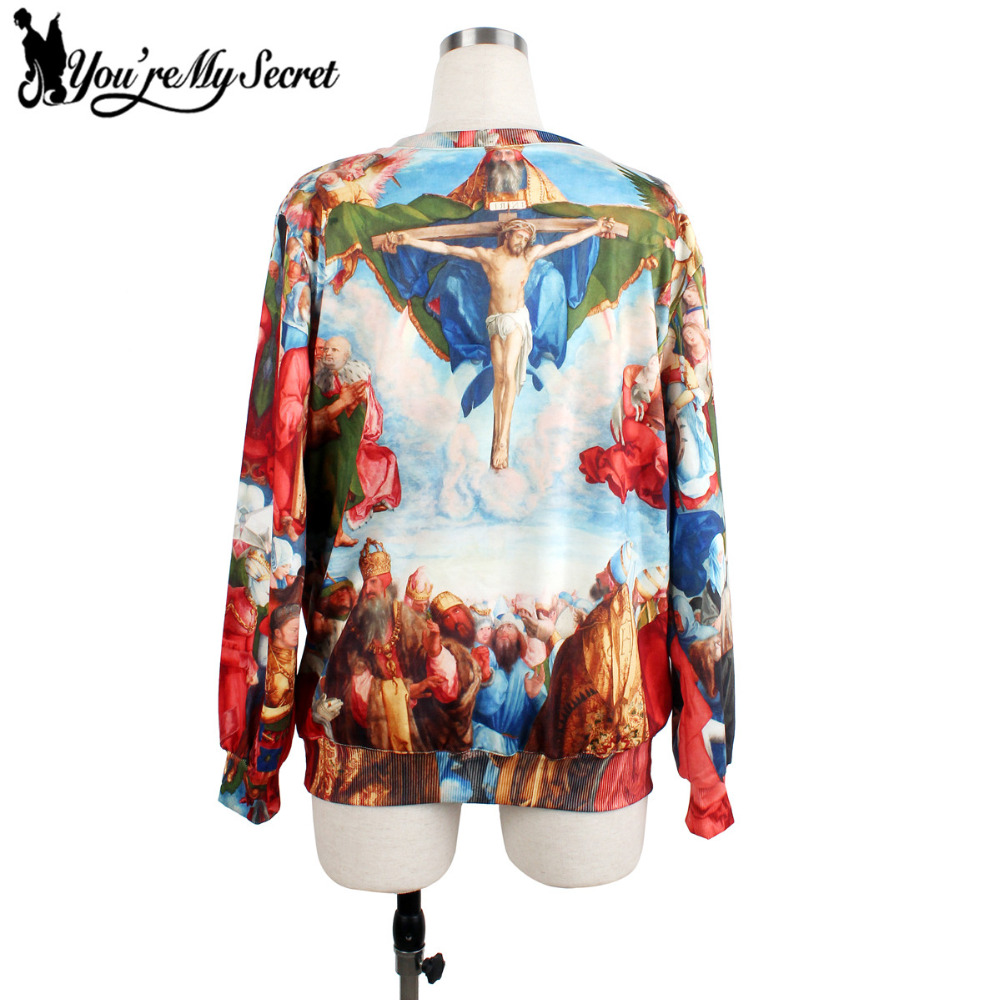 [Youre My Secret] Women Hoodies O-Neck Long Sleeve Moleton Printed Women Sweatshirts With Jesus Crucifixion Loose Casual Suit
