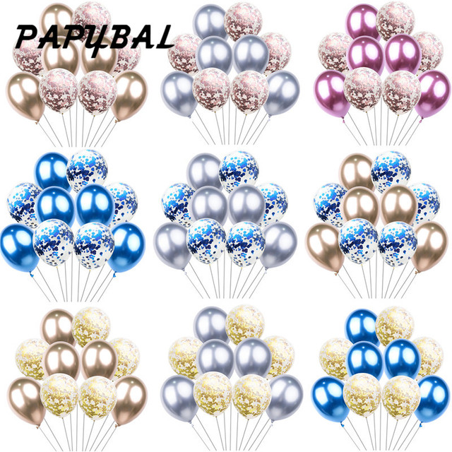 10pcs 12inch Metallic Latex Balloons Rose Gold Confetti Balloons Birthday Party Supplies Wedding Baby Shower Toy Decorations