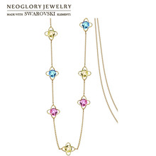 Neoglory, Кристальное цветное длинное ожерелье с подвеской, геометрические бусы, вечерние платья для леди, украшенные кристаллами Swarovski