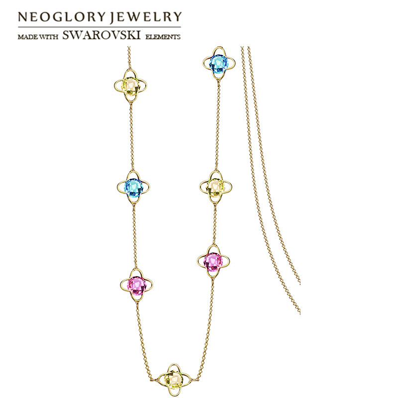 Neoglory Crystal Colorful Long Pendant Necklace Geometric Beads Dress For Lady Party Embellished With Crystals From Swarovski
