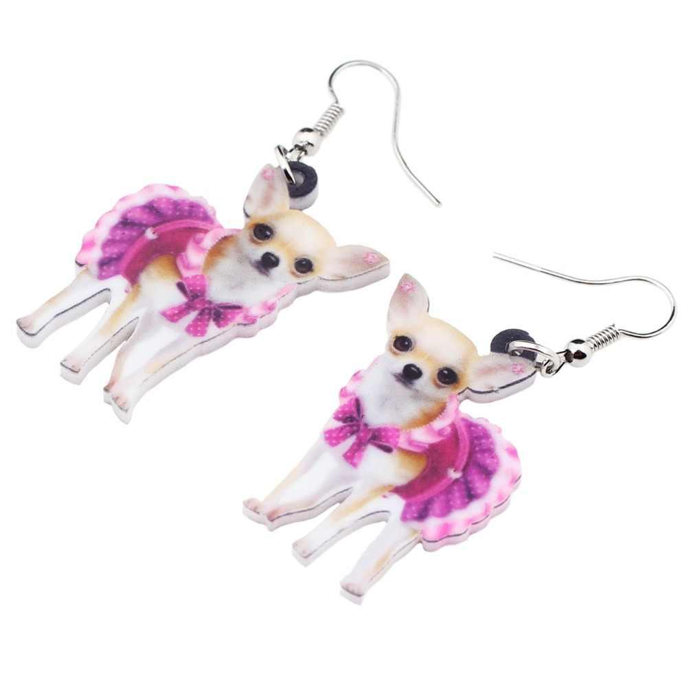 Bonsny акриловые розовые платья собака породы чихуахуа серьги большие длинные висячие Висячие животные ювелирные изделия подходит для женщин, девушек и девочек. подростковые аксессуары для домашних животных