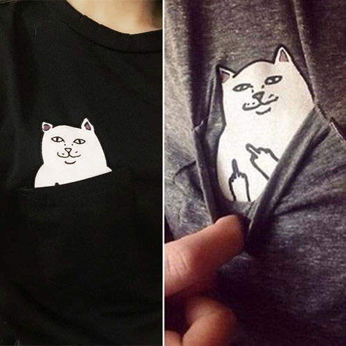 Pocket Print Style Cool Giving Finger RUDE CAT Flipping Bird T Shirt
